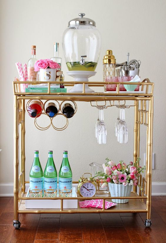 golden bar cart with wheel