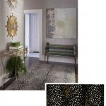 Gray Entryway Turkey Run Rug In Coffee Shade Abstract Painting Smaller Bench Seat Brass Finishing Console Table With Glass Top Some Decorative Wall Decors