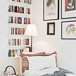 High Built In Bookshelves In White White Lounge Chaise Natural Fiber Basket With Handle Floor Lamp With White Lampshade