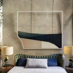 Master Bedroom Idea Concrete Wall Glorious Wallpaper Artistic Wall Decor Bed Frame With Tufted Headboard Tree Trunk Bedside Tables