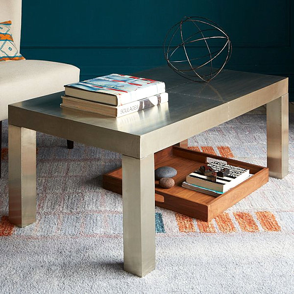 metal wrapped coffee table in rectangular shape