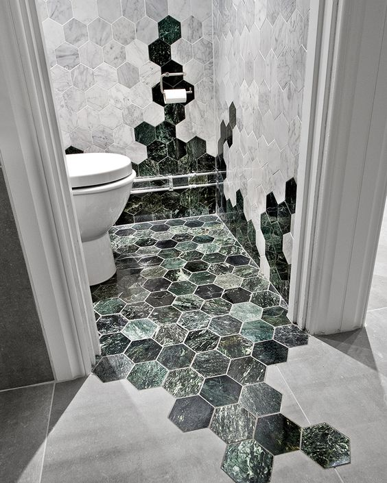 modern bathroom design whitewashed hexagon tiles wall green marble tiled floors in hexagon shape large matte tiled floors