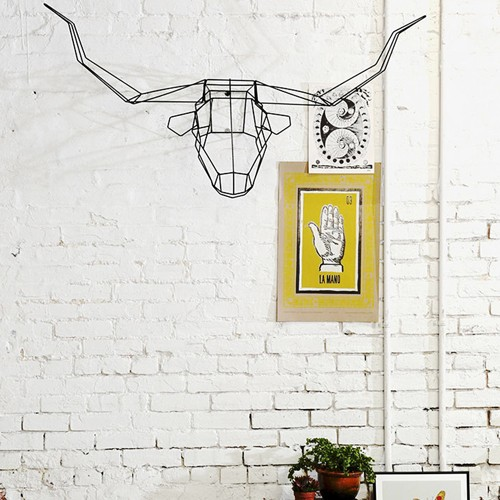 modern bohemian idea decorative long horn wall decor white painted brick walls yellow wall decor vivid houseplant