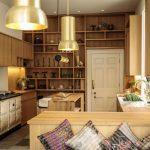 Modern Bohemian Kitchen Idea Organic Wood Kitchen Cabinets And Shelves Wood Kitchen Counter Bohemian Style Pillows