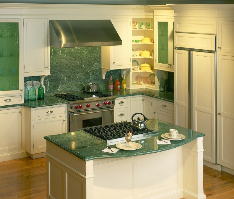 modern kitchen design green marble kitchen counter green marble kitchen island green glass cabinets with raised panels green marble backsplash stainless steel appliances