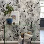Monochrome Wallpaper With Flower Motifs Clear Glass Hall Console Houseplant With Blue Pot Wire Basket