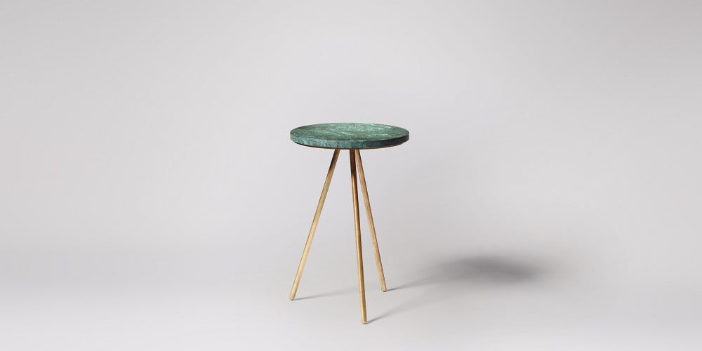 round green marble bar stool with gold tripod legs