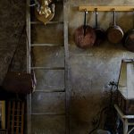 Rustic Kitchen Idea Copper Panel For Cookingware Wood Ladder Concrete Walls