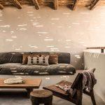 Rustic Patio Hardwood Furnishings Dark Sofa Bed Exposed Wood Beams And Ceilings Concrete Exterior Facade
