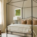 Traditional Metal Bed Frame With Headboard And Canopy White Bedding Treatment