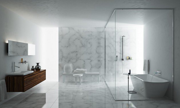 ultramodern bathroom white marble floors and walls floating wood bathroom vanity wall mounted mirror without frame white seating area glass boxed shower area with white freestanding tub