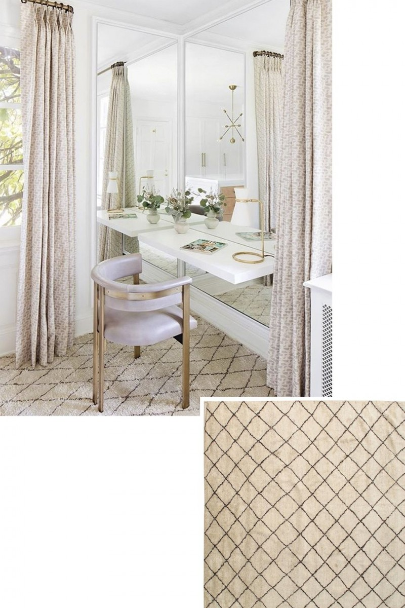 warm toned Moroccan carpet with simple pattern bedroom vanity with white countertop and larger mirror contemporary chair