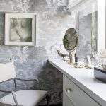 Zinc Finish Vanity Seat White Vanity Gray Wall With Clouds Visual Effect Artistic Wall Art