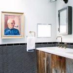 Black Hex Tiles Walls Blue Cement Tiles With Modern Patterns White Walls Brass Towel Hanger