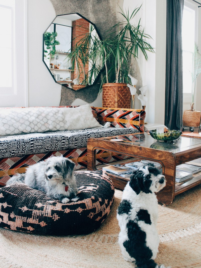 bohemian living room idea big scale wall mirror cowhide wall statement corner houseplant with handmade knitted natural fiber pot bohemian style furniture