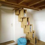 Book Shelves Integrated With Stairs Blue Beanbag Chair