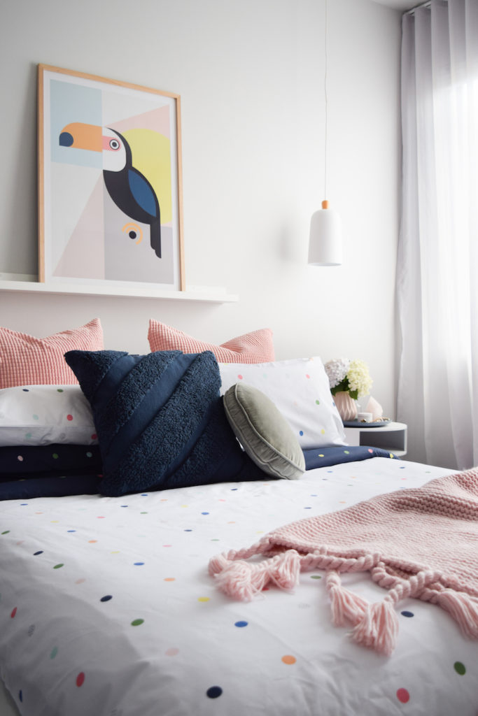 delightfully dotted bedding treatment baby pink blanket big parrot print with wood frame white pendant