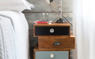 eclectic bedroom idea vintage styled timber bedside storage solution