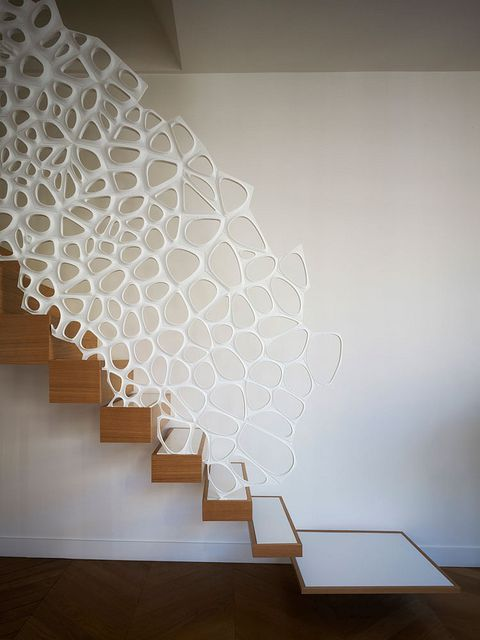 floating wood stairs with bubles addition