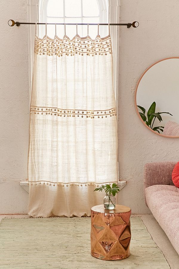 light & colorless Boho curtains in soft neutral color