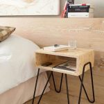 Light Wood Bedside Table With Hairpin Legs