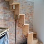 Light Wood Stairs With Knitted Like Crews