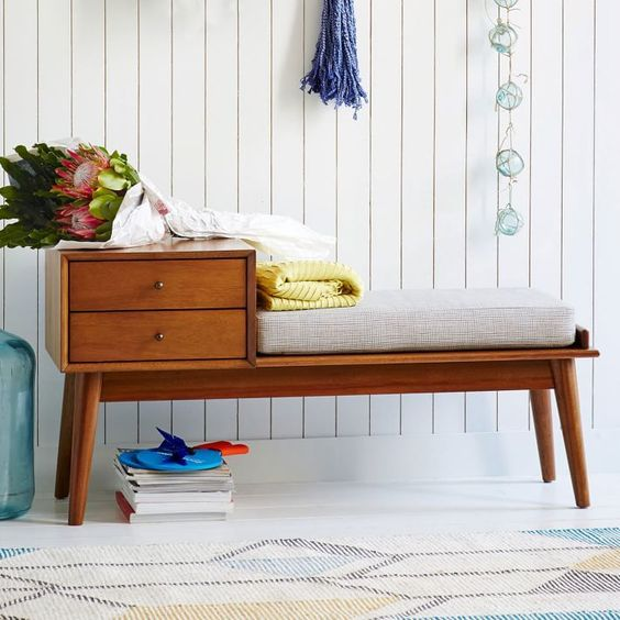 mid century storage bench idea with upholstery