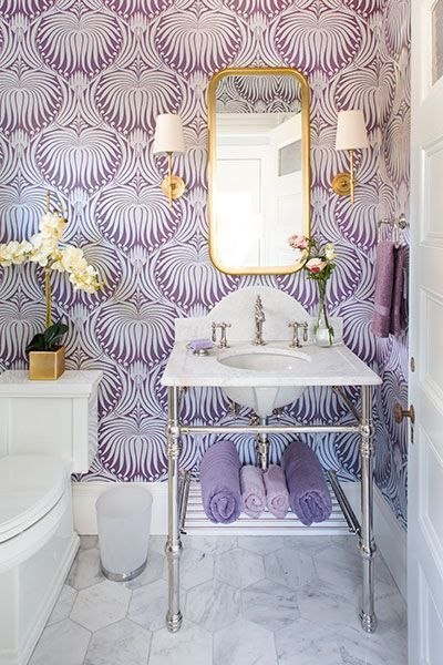 modern bathroom design purple wallpaper tiny bathroom vanity with stainless steel legs and undermount sink brass framed mirror