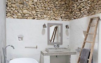 modern rustic bathroom modern white bathtub concrete bathroom vanity gray framed vanity mirror ladder rack