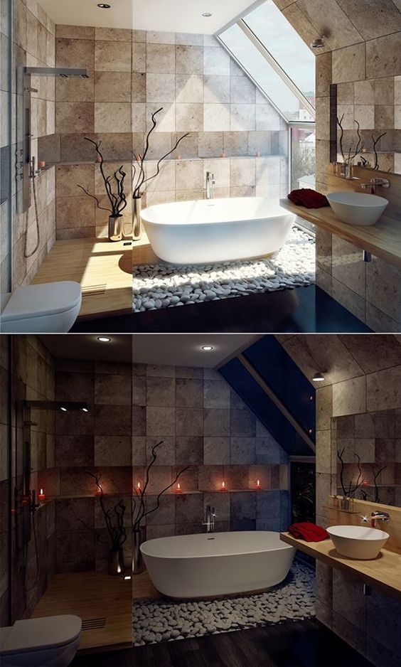 modern small bathroom idea neutral toned tile walls large skylight white bathtub wall mounted toilet in white