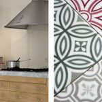 Patterned Vintage Tiles With Bold Colors And Various Patterns Marble Top Countertop Wood Kitchen Cabinets Light Colored Wall