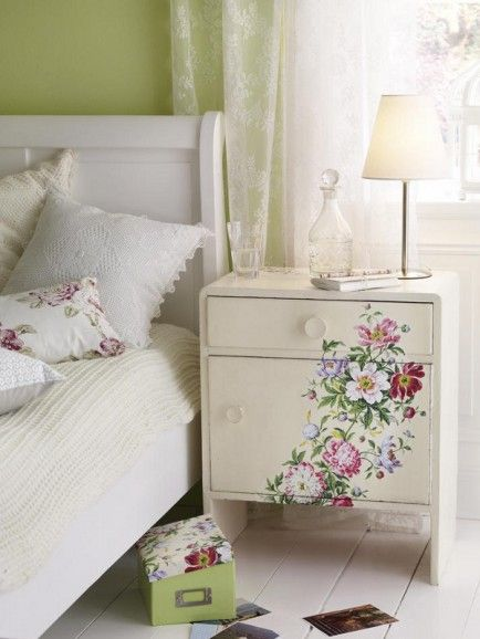 pretty white bedside table with colorful flower prints tiny table lamp with light neutral lampshade