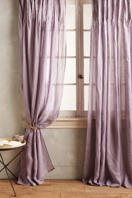 semi transparent curtains in purple