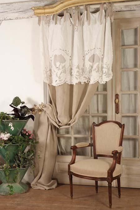 shabby curtain with textured & patterned decorative top