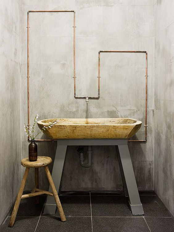 small bathroom with rustic barn interior