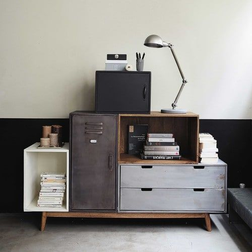storage solution with open shelves and cabinet