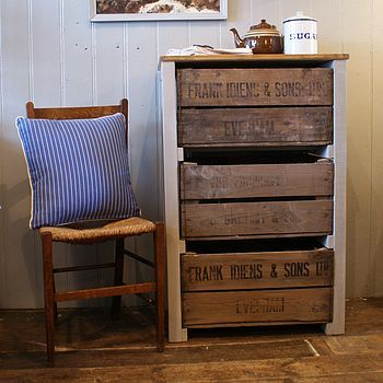 vintage apple crate drawer system with white painted frame