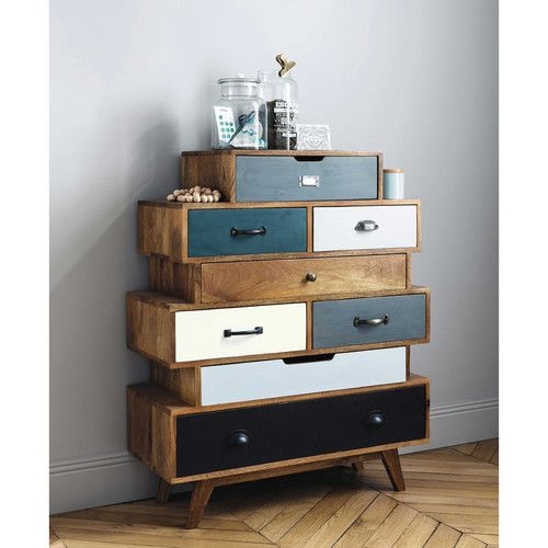 vintage designed drawer system with asymmetric shape and colored door panels