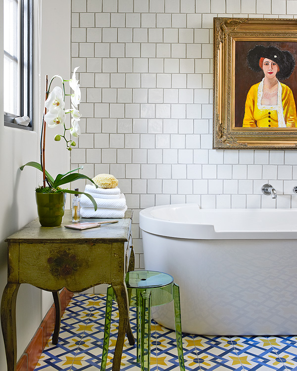 vintage inspired bathroom white subway ceramic tiles for wall patterned & colorful vintage tiles for floors freestanding bathtub in white shabby green table transparent green acrylic stool