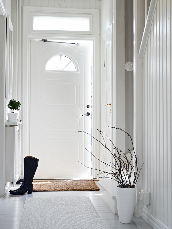 white small entryway idea natural fiber door mat leaves less houseplant on white ceramic pot white painted front door