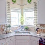 Bright And Light Kitchen Corner Sink Corner Windows With Trendy Curtains Pair White Cabinets