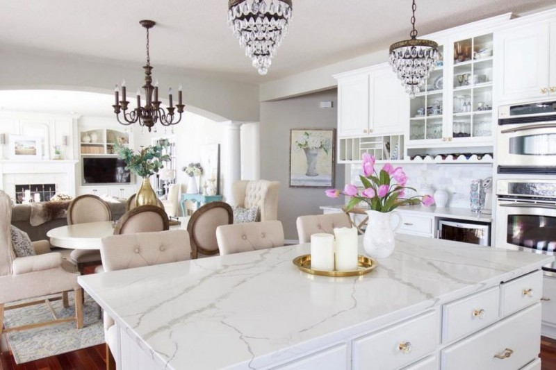brightly white quartz kitchen countertop idea