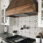 Concrete Kitchen Countertop In Counter Stove Ceramic Tiles Backsplash With Classic Patterns White Kitchen Cabinets