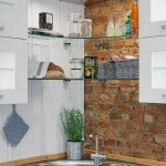 Corner Double Round Shaped Sinks Idea Corner Open Glass Shelves Dark Countertop Brick Wall Idea