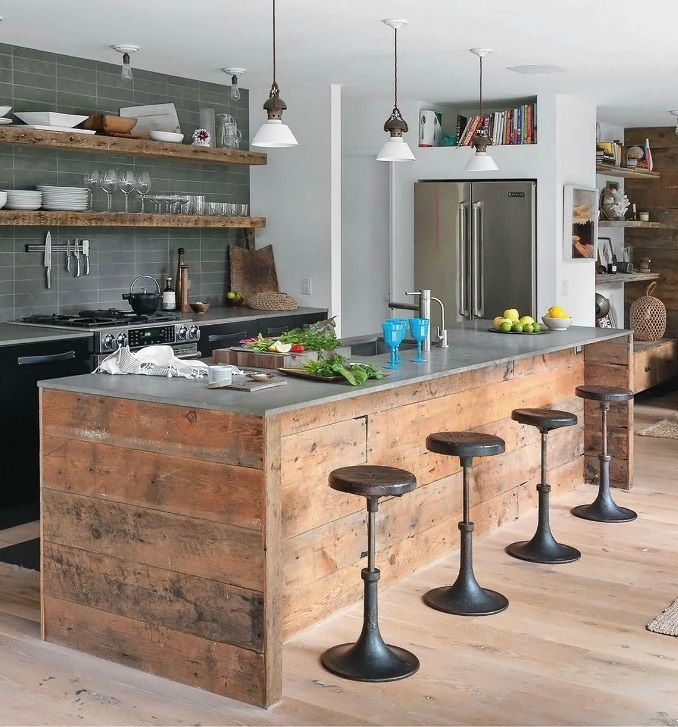 custom industrial kitchen rustic kitchen island with stainless steel worktop dark bar stools modern gray tiles walls rustic open shelves