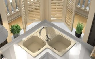 double corner sink in cream tone cream toned window shutters small plantations on pots