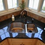 Double Corner Sinks In Different Size Of Sinks Glossy Black Countertop