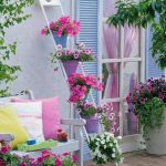Flowers On Ladder Light Gray Exterior Bench With Back Rest Colorful Throw Pillows