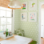 Fun And Simple Small Corner Breakfast Nook Idea Small Bench Seat With Green Seating Feature Wooden Table Modern Green Wallpaper Modern Pendant With Metal Lampshade