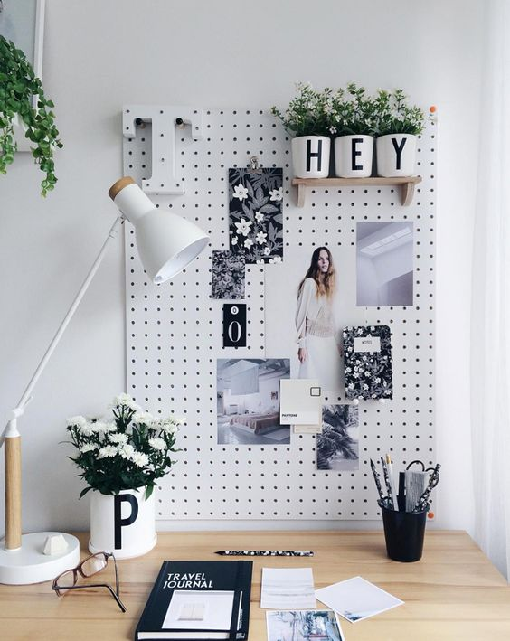gallery like wall organizer idea in monochromatic scheme